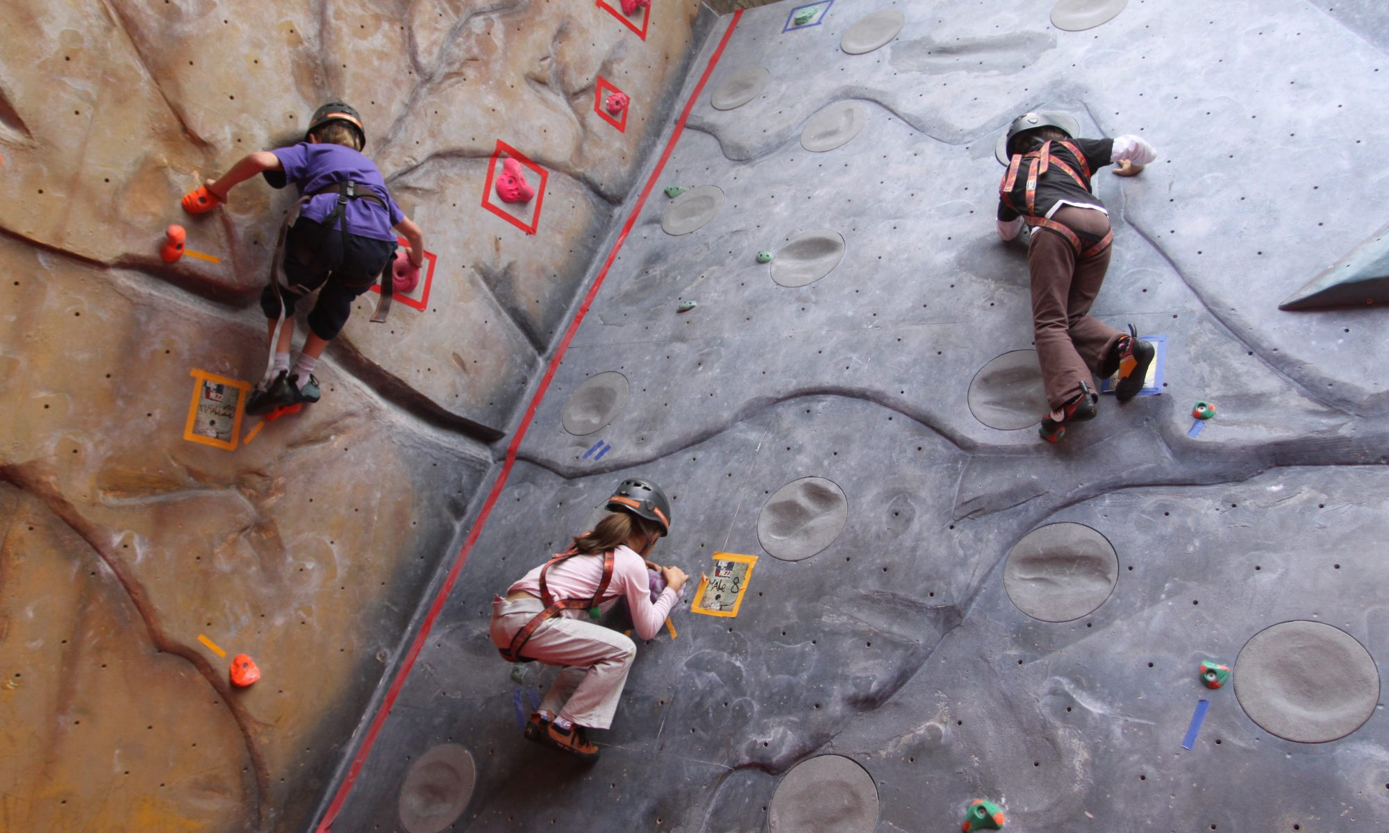 Bouldering at The Castle during a kids' climbing party