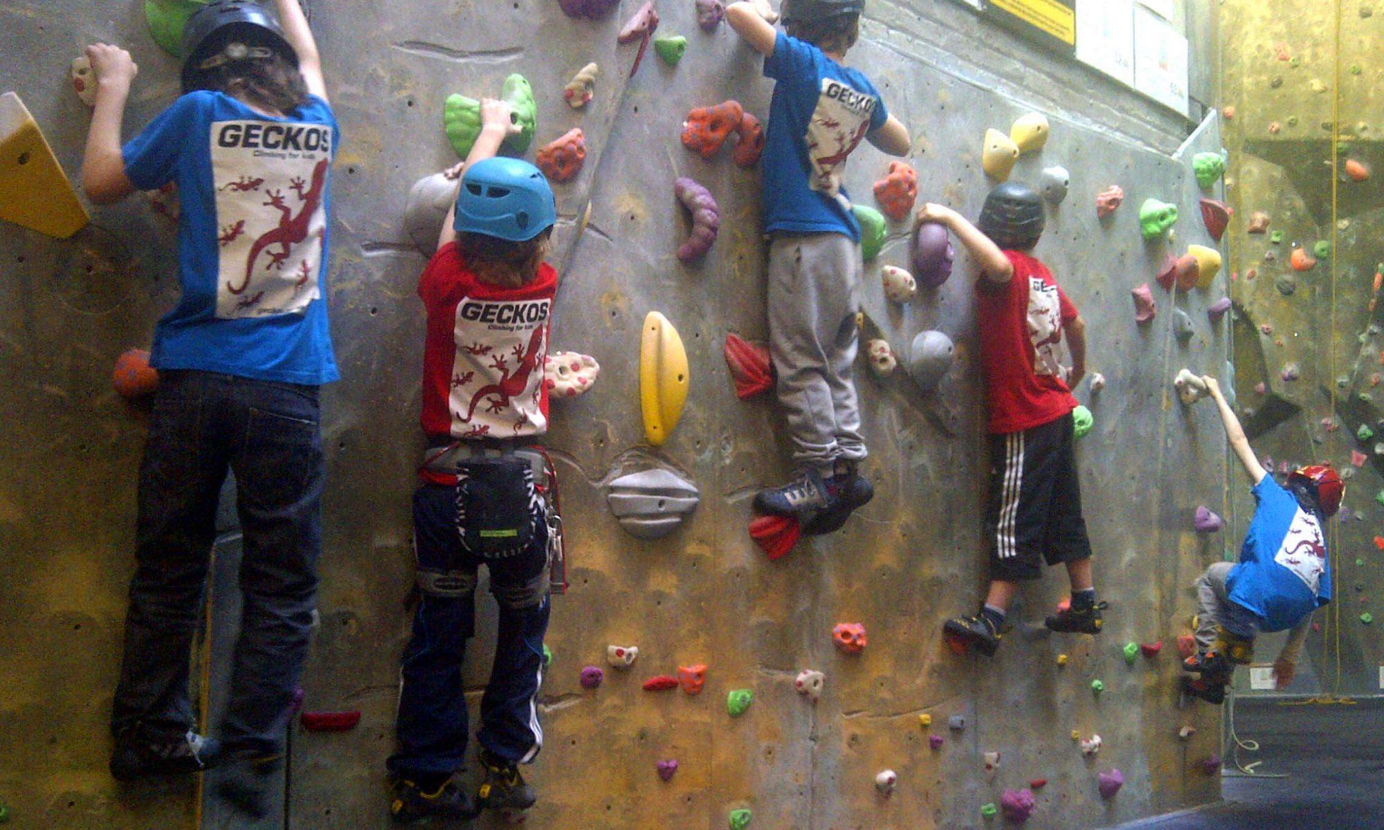 Kids traversing in Geckos shirts